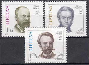 Litauen 2000 Michel Nr. 725–27 Persönlichkeiten