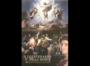Vatikan Cittá del Vaticano 2020 Block 65 500. Todesjahr Raffaello Sanzio Maler