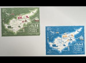 Zypern griechisch Cyprus 2020 Nr. 1435-36 Europa Historische Postwege Postrouten