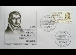 Bund BRD Ersttagsbrief FDC 6. August 2020 Nr 3560 Georg Wilhelm Friedrich Hegel