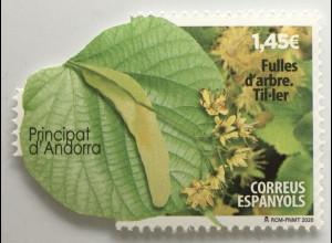 Andorra spanisch 2020 Nr. 498 Natur Baum Laub Blätter seltene Form Flora