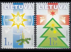 Litauen 2002 Michel Nr. 804-05 Weihnachts- und Neujahrsgrußmarken
