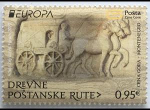 Montenegro 2020 Neuheit Europaausgabe Historische Postwege Postbeförderung