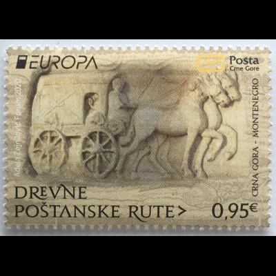 Montenegro 2020 Nr. 448 Europaausgabe Historische Postwege Postbeförderung