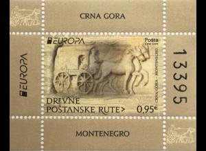 Montenegro 2020 Neuheit Europaausgabe Historische Postwege Postbeförderung Block