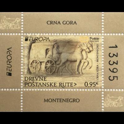 Montenegro 2020 Block 26 Europaausgabe Historische Postwege Postbeförderung