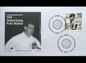 Bund BRD Ersttagsbrief FDC 1. Oktober 2020 Nr 3568 100. Geburtstag Fritz Walter