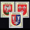 Litauen 2008 Michel Nr. 992-94 **, Stadtwappen (XVII), kpl. Satz mit 3 Werten