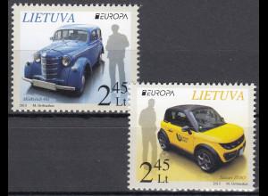 Litauen 2013 Michel Nr. 1131-32 Europa Postfahrzeuge Tazzari ZERO Moskwitsch