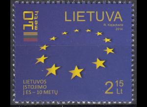 Litauen 2014 Michel Nr. 1158 10 Jahre Mitgliedschaft in der Europäischen Union