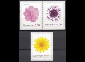 Dänemark 2012 Michel Nr. 1714-16 BA Herbstblumen Seifenkraut Skabiosen