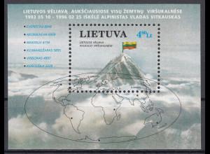 Litauen 1997 Block 10 Alpinismus Litauische Flagge auf einem Berggipfel