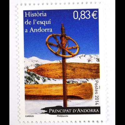 Andorra französische Post 2014 Michel Nr. 781 Geschichte Skifahren