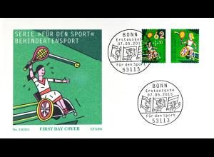 Bund BRD Ersttagsbrief FDC Nr. 3149-51 nassklebend Für den Sport 7. Mai 2015
