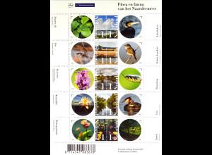 Niederlande Netherlands 2015 Michel Nr. 3342-51 Flora und Fauna ZD-Bogen