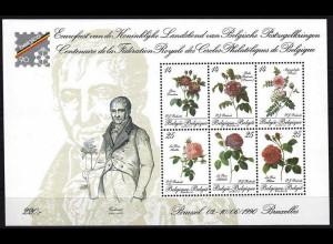 Belgien 1990 Block 61 Rosen aus dem Werk 60 Rosen für ein Königreich Redouté