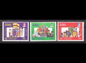 Brunei 1985, Michel Nr. 314-16, Internationales Jahr der Jugend.