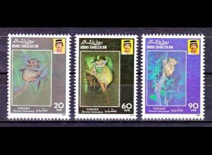 Brunei 1990, Michel Nr. 421-23, Gefährtete Tiere. - Sunda-Koboldmaki