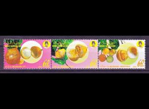 Brunei 1990, Michel Nr. 427-29 ZD, Einheimische Früchte