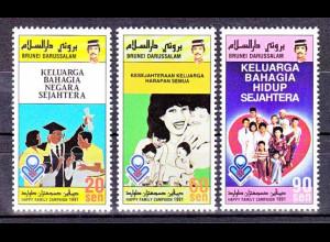 Brunei 1991, Michel Nr. 439-41, Ausgabeanlass Familienförderung