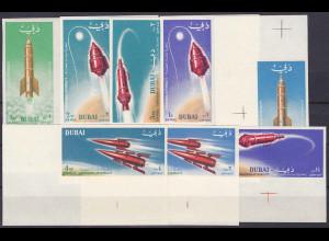 Dubai 1964, Michel Nr. 71-78 B, Raumfahrt kpl. Satz ungezähnt - Eckrand