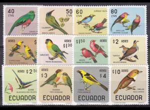 Ecuador 1966, Michel Nr. 1230-41, kpl. Satz, Motiv: Vögel