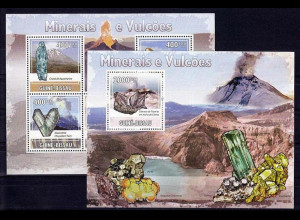 Guinea Bissau 2009, Michel Nr. 4432-36 + Block 723, Mineralien und Vulkane.