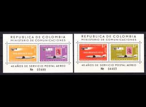 Kolumbien 1959, Block 16-17, 40 Jahre Flugpost der AVIANCA (früher SCADTA)