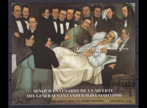 Kolumbien 1990, Block 43, Santander auf dem Totenbett. Gemälde Luis G. Hevia.