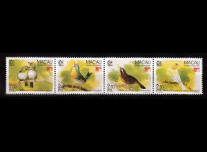 China Macau Macao 1995 Michel Nr. 814-17 ZD, Singvögel