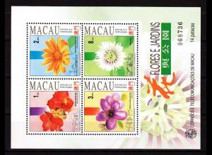 China Macau Macao 1993, Block 23 postfrisch, Blumen und Gärten