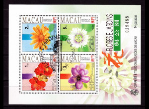 China Macau Macao 1993, Block 23 gestempelt, Blumen und Gärten