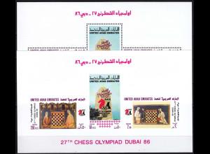 Vereinigte Arabische Emirate 1986 Block 5 A + B Schacholympiade Schach