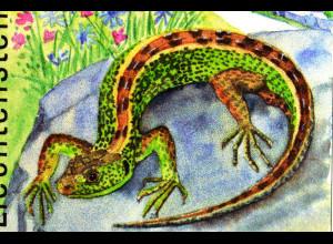 Zauneidechse Schlingnatter Bergeidechse Liechtenstein Briefmarkensatz Reptilien