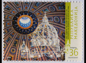 Makedonien 2006 Mi-Nr. 385 Weihe der Kuppel Petersdom in Rom
