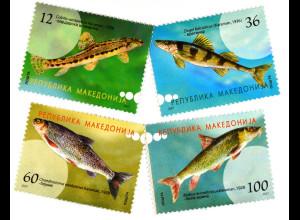 Steinbeißer Zingel Näsling Makedonische Barbe Briefmarkensatz aus Makedonien