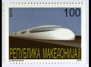 Hochgeschwindigkeitszug Transportmittel der Zukunft Makedonien Briefmarke