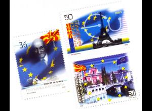 Makedonien 2008 Michel Nr. 464-66 Angestrebte Aufnahme in die Europäische Union