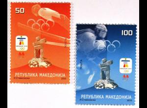 Makedonien 12.02.2010 Michel Nr. 535-36 Olympische Winterspiele Vancouver