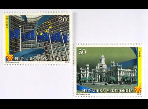 Europaparlament Brüssel Hauptpostamt Madrid Briefmarken aus Makedonien