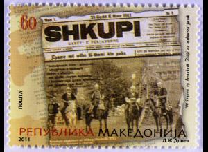 Makedonien 2011 Michel Nr. 596 100 Jahre albanischsprachige Zeitung Shkupi