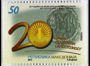 Makedonien 2012 Michel Nr. 631 20 Jahre Makedonischer Denar