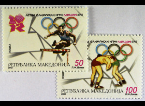 Olympische Sommerspiele in London Ringen Briefmarken aus Makedonien