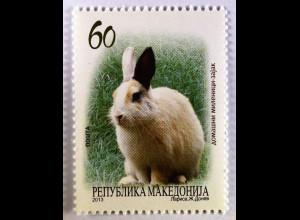 Kaninchen Briefmarke aus Makedonien 2013 Michel Nr. 650