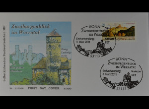 Bund BRD Ersttagsbrief FDC, Nr. 2856 skl., Zweiburgenblick im Werratal, 3.3.2011