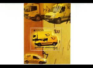 Mercedes Briefmarke Makedonien 2013 Block 26 Europa Postfahrzeuge