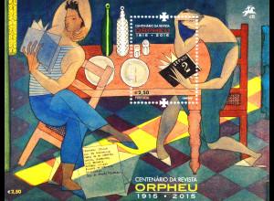 Portugal 2015 Block 370 100. Jahrestag der Literaturzeitschrift Orpheu