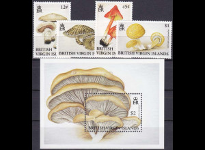 Jungferninseln 1992, Michel Nr. 755-58 + Bl. 73, Pilze