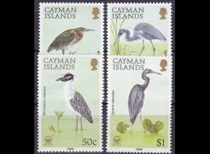 """Kaiman-Inseln 1988, Michel Nr. 604-07, """"Reiher"""", Satz mit 4 Werten"""