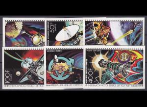 Komoren 1977, Michel Nr. 369-74 B, Große Raumfahrtprogramme Satz ungezähnt
